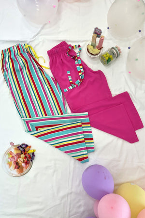 Women's Ankle Length Pyjama Combo (Pack of 2) - K206BP - Candy Stripes
