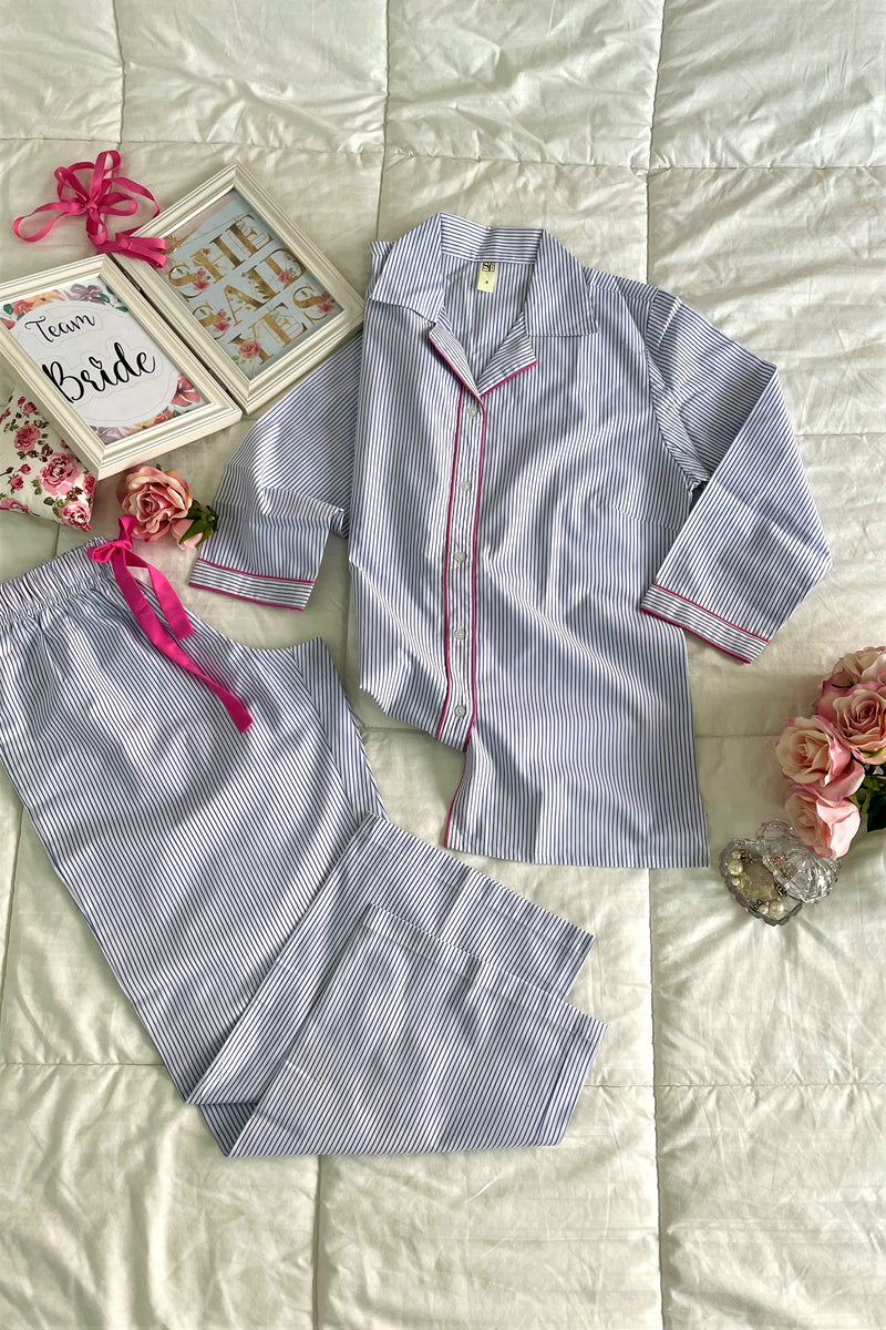 Women's Cotton Nightsuit -K538/ K539 - Blue White Stripes