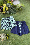 Women's Crepe Shorts Combo (Pack of 2) - K350 Herringbone & Mint Navy