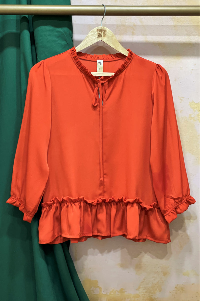 Women's Ruffled Solid Rust Top - K2020