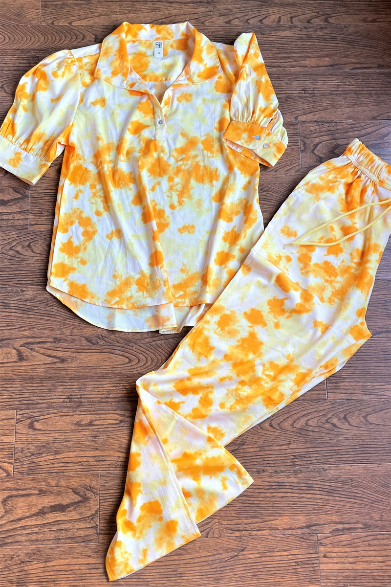 Women's TIE- n- DYE - Shirt Co-Ord Set - Yellow Stone - K1976
