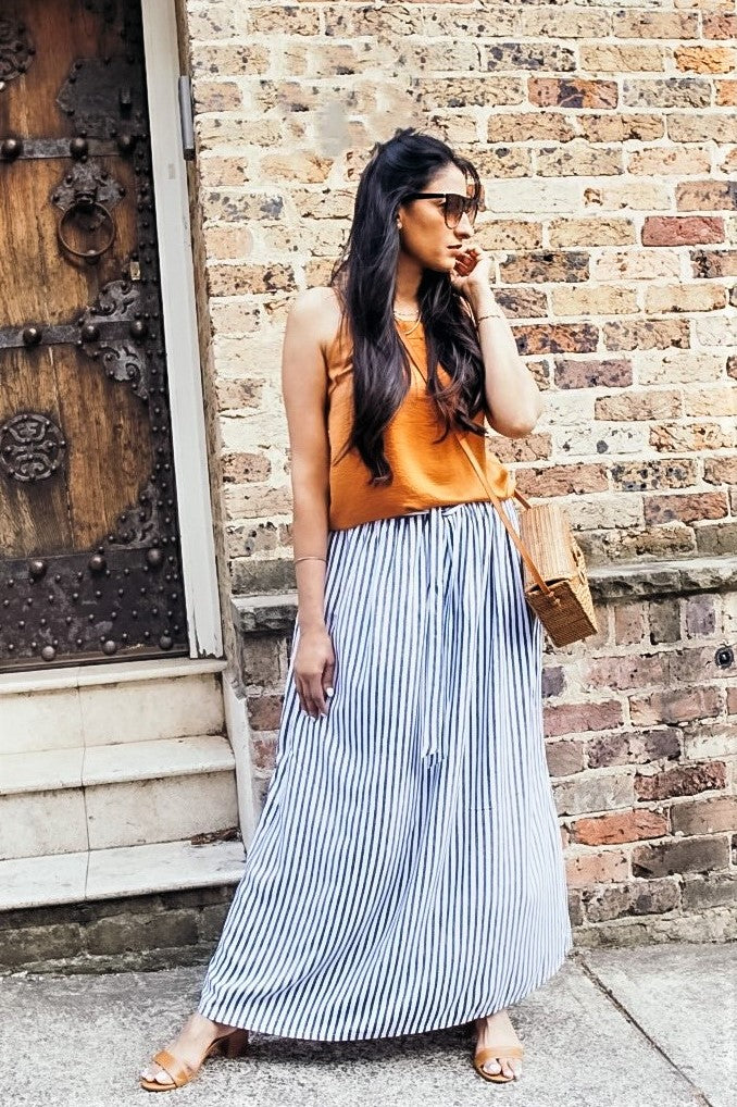 Womens Blue White Striped Long Skirt -  K1837VS