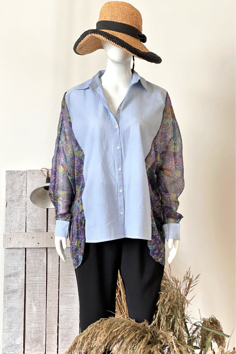 Womens Oversized Shirt with Floral Chiffon Sleeves - K1884