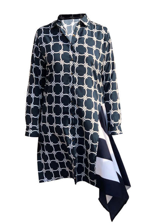 Women's Circle Link With Rugby Stripe Printed Tunic K1746N