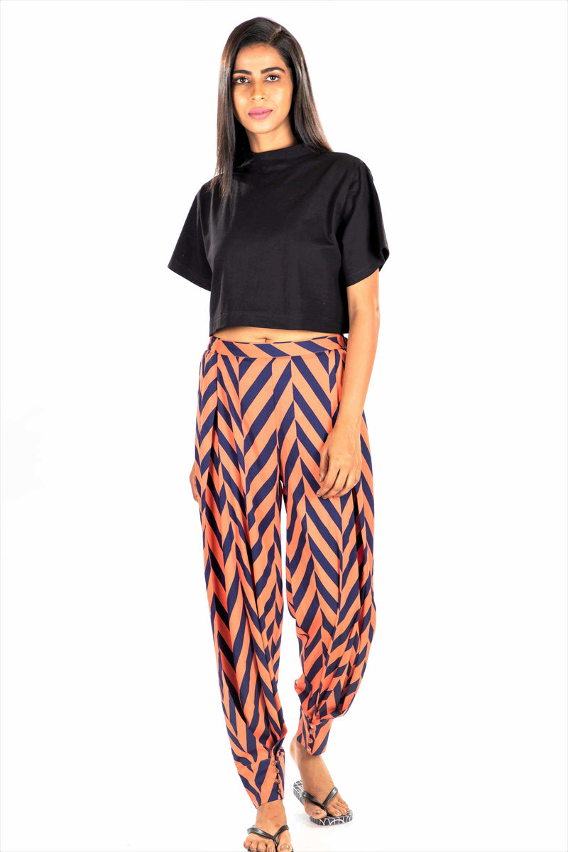 Women's Button-Up Trousers - K2004 - Orange Navy Heringbone