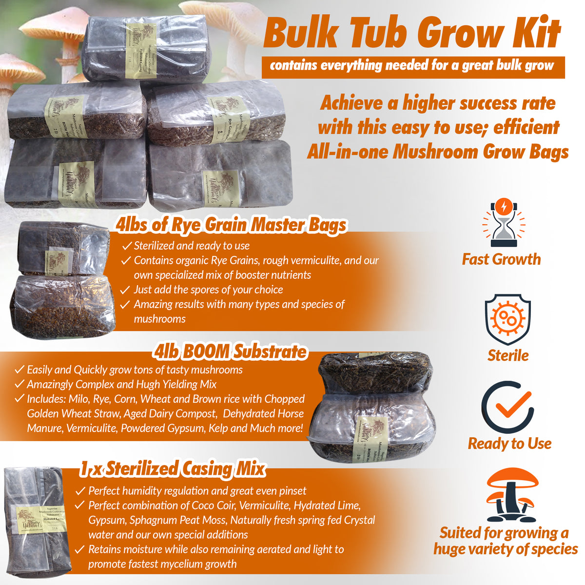 Sterilized Substrates and Fast Kits -- Easy Mushroom