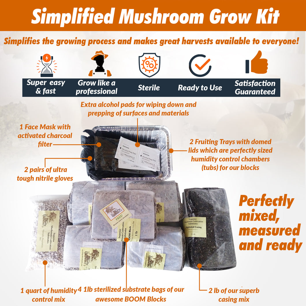 Simplified Mushroom Grow Kit- Easy Home Grow * Just Add Spore Syringe!