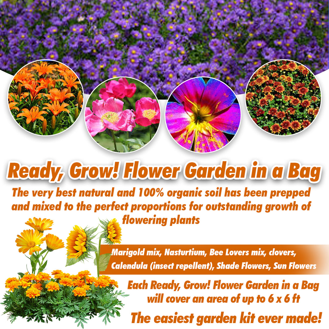 Ready, Grow! Flower Garden in a Bag - Patio, Home, Kitchen, Balcony or Garden - Seed, Super Soil & Germination Mix - All Included, Easy Grow!