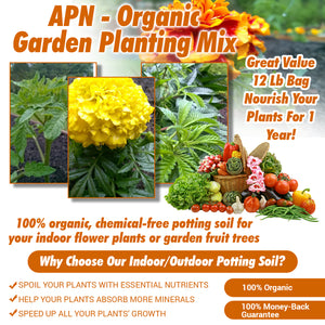 APN - Organic Garden Planting Mix Flowers, Herbs and Vegetables - Ready To Use All Purpose House Gardening Vegetable Plant Soil - 12 Lb