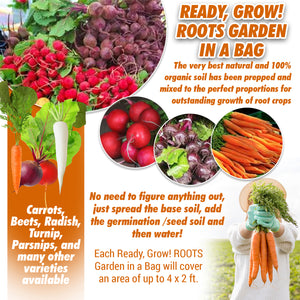 Ready, Grow! ROOTS Garden in a Bag - Patio, Home, Kitchen, Balcony or Garden - Seed, Super Soil & Germination Mix - All Included, Easy Grow!