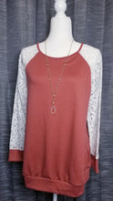 Load image into Gallery viewer, Lace Sleeve Raglan Top