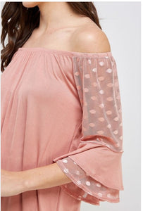 Off Shoulder Polka Dot Top