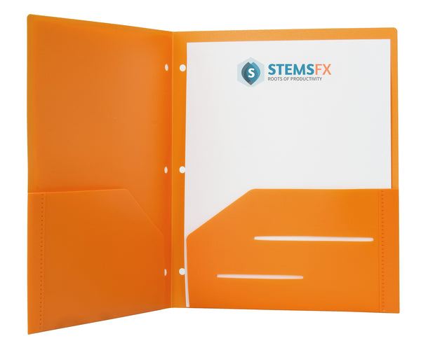 Orange Heavy Duty 3 Punch Holes Plastic Folder