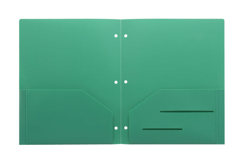 Green Heavy Duty 3 Punch Holes Plastic Folder