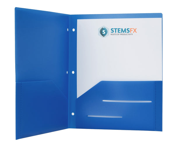 Blue Heavy Duty 3 Punch Holes Plastic Folder