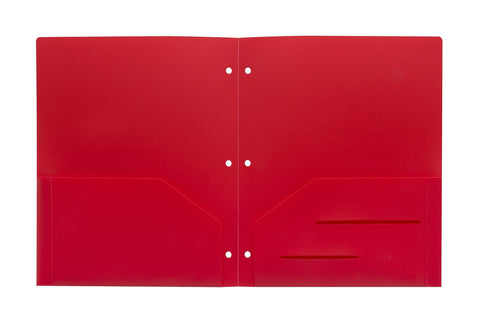 Red Heavy Duty 3 Punch Holes Plastic Folder