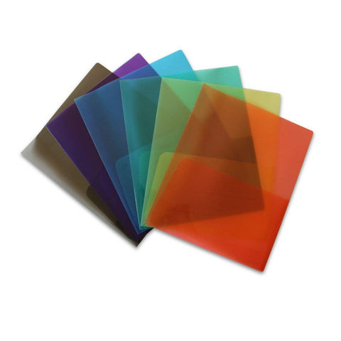 Clear Lightweight Plastic Folder Assorted - Pack of 6