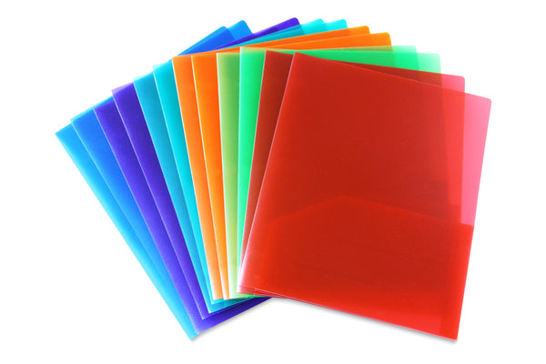 Embossed Plastic Folder Assorted Pack of 12