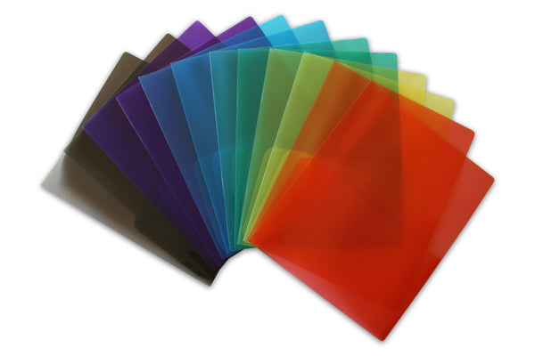 Clear Lightweight Plastic Folder Assorted - Pack of 12