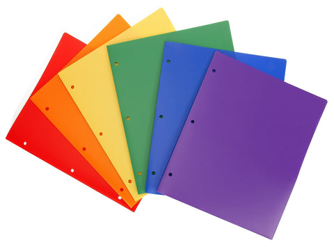 Heavy Duty Plastic Folders Assorted Colors Pack of 6 Hole Punched