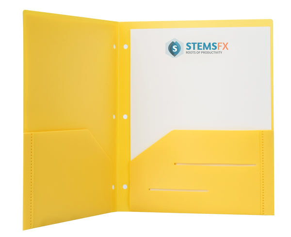 Yellow Heavy Duty 3 Punch Holes Plastic Folder