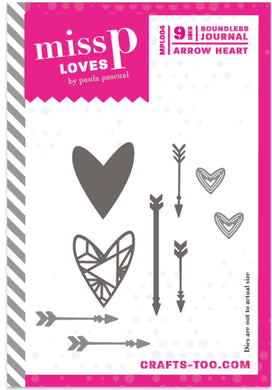 Paula Pascual Miss P Loves Die Set Boundless Journal - Arrow Heart - 9 Dies