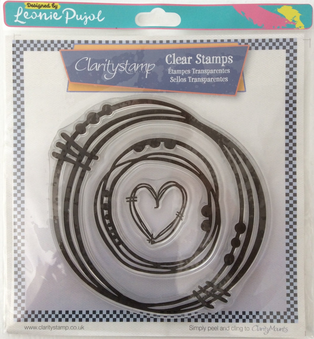 Clarity Stamp Unmounted Clear Stamp Set of 3 Designed by Leonie Pujol-Nested Heart Scribbles