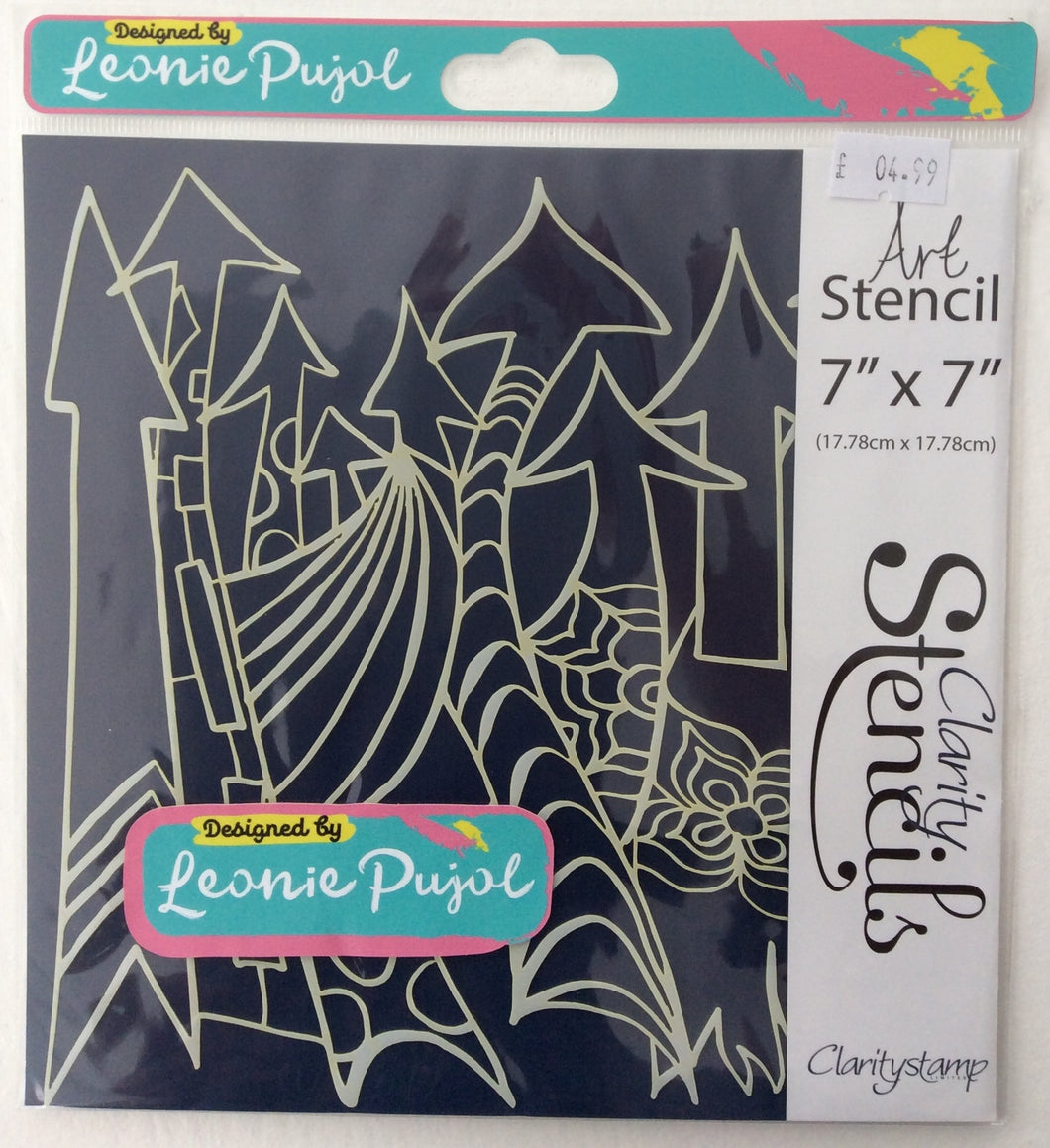 "Clarity Art Stencils by Leonie Pujol - Arty Arrows Frameless 7""x 7"""