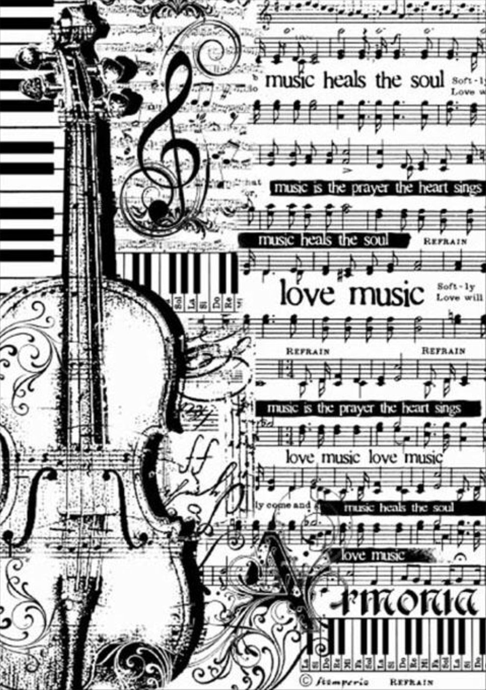 Stamperia Decoupage Rice Paper Sheet Music & Violin A4