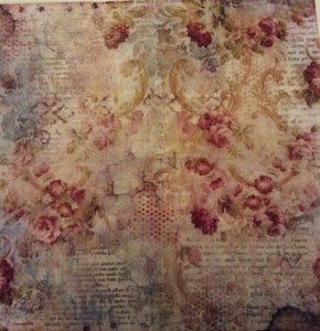 Stamperia Decoupage Rice Paper 50 x 50cm Time is an Illusion Floral Texture