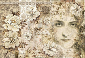 Stamperia Decoupage Rice Paper A3 Old Lace Face DFS389