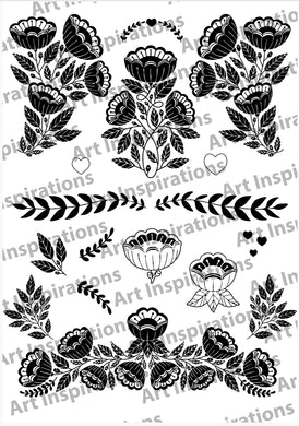 Art Inspirations by Wensdi Made A5 Clear Stamp Sheet - Floral Garland - 17 Stamps