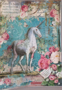 Stamperia Decoupage Rice Paper A4 Unicorn