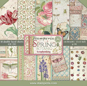"Stamperia Scrapbooking 12"" x 12"" Paper Pad - Spring Botanic - 10 Double Faced Sheets - SBBL50"