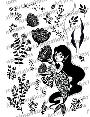 Art Inspirations by Wensdi Made A5 Clear Stamp Sheet - Under The Sea Betty - 26 Stamps