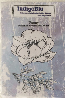 Indigo Blu Rubber Stamps designed by Kay Halliwell Sutton - Peony Set of 2 A6