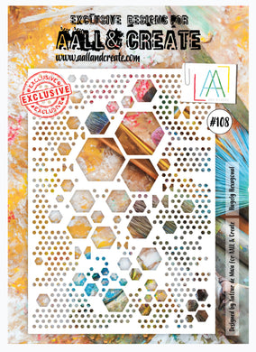 AALL & Create Stencil designed by Autour de Mwa -A4  -Hugely Hexagonal #108