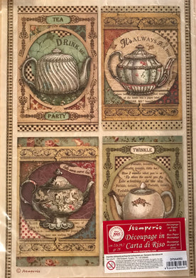 Stamperia Rice Paper decoupage A4  Alice, drink me, Tea Pots DFSA4350