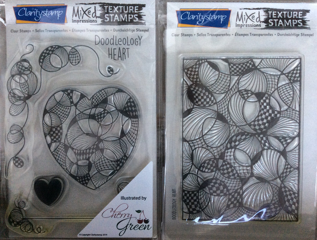 Clarity Stamp Mixed Impressions Texture Clear Stamp Set - Doodleology Heart by Cherry Green