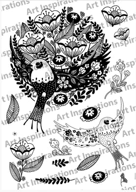 Art Inspirations by Wensdi Made A5 Clear Stamp Sheet - Floral Bird - 15 Stamps