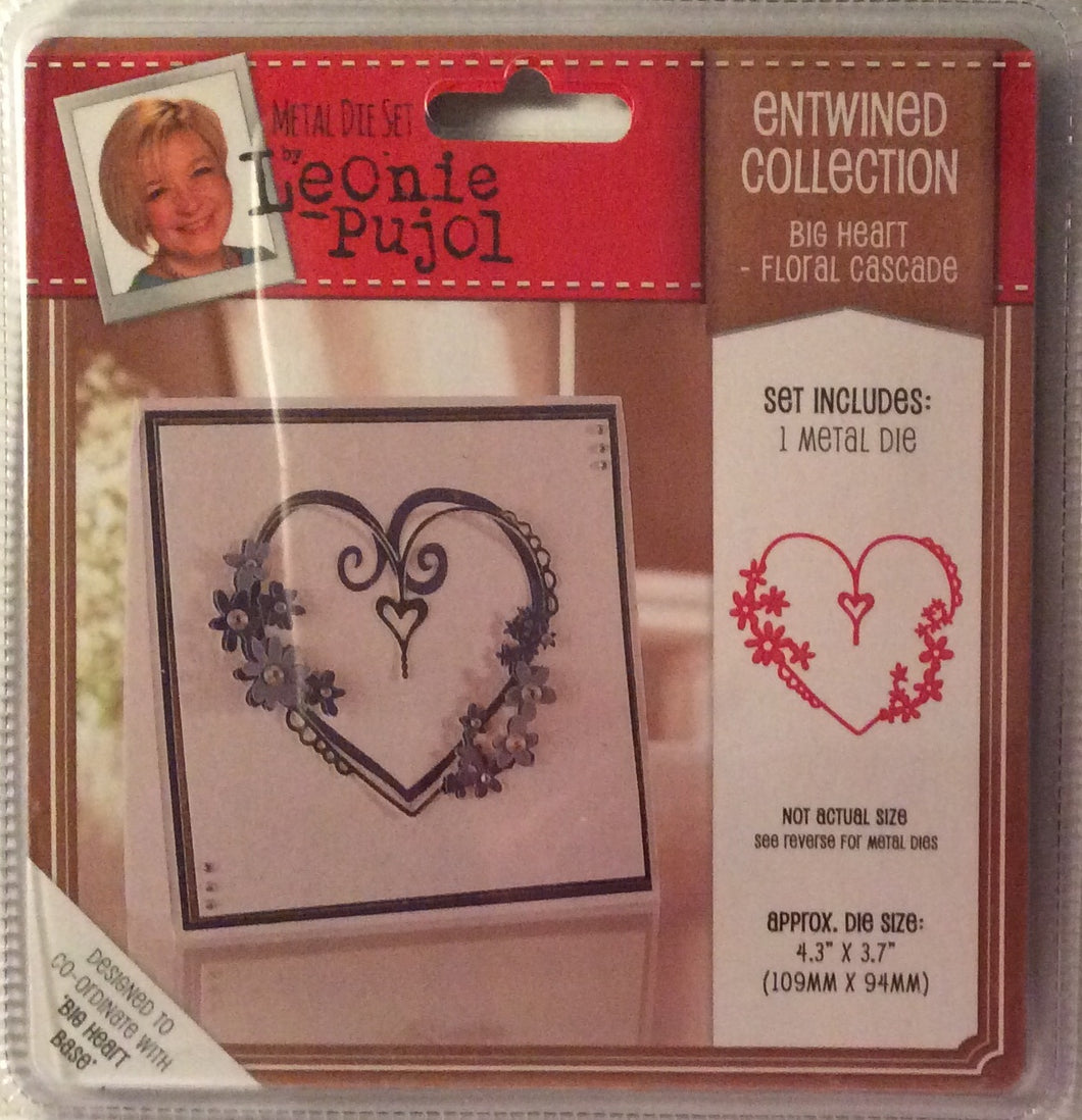 "Leonie Pujol Entwined Collection Big Heart - Floral Cascade - 4.3"" x 3.7"""