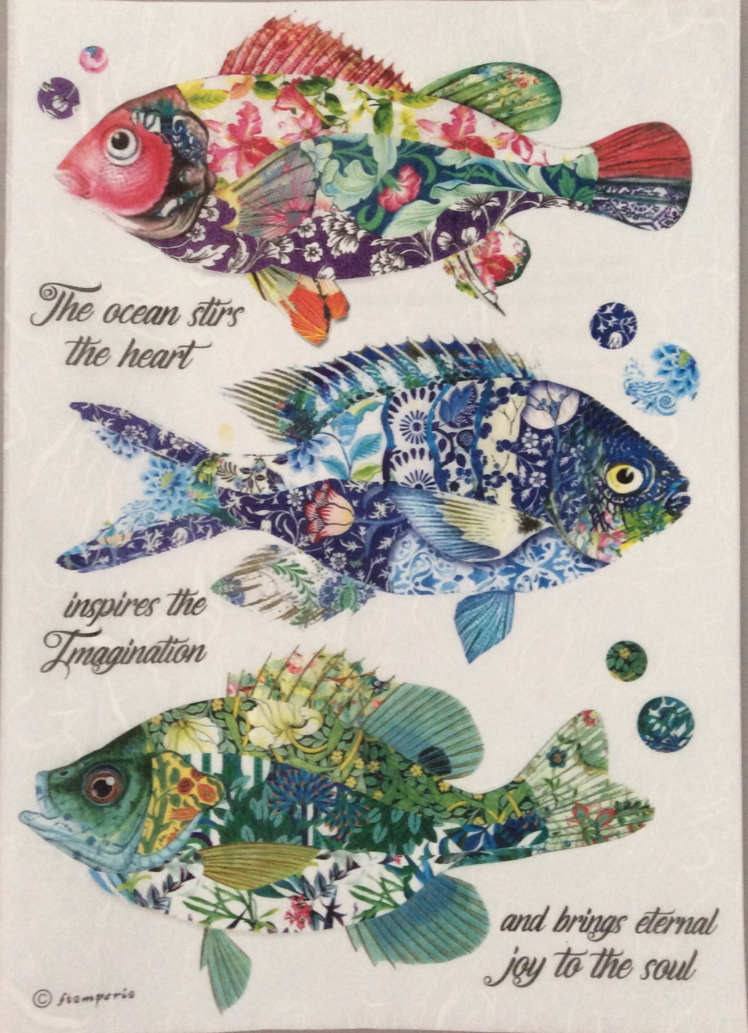 Stamperia Decoupage Rice Paper A4 Mosaic Fish