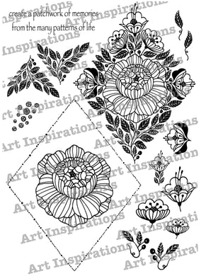 Art Inspirations by Wensdi Made A5 Clear Stamp Sheet - Patchwork Memories - 16 Stamps