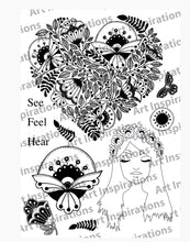 Art Inspirations by Wensdi Made A5 Clear Stamp Sheet - Lady & Heart - 11 Stamps