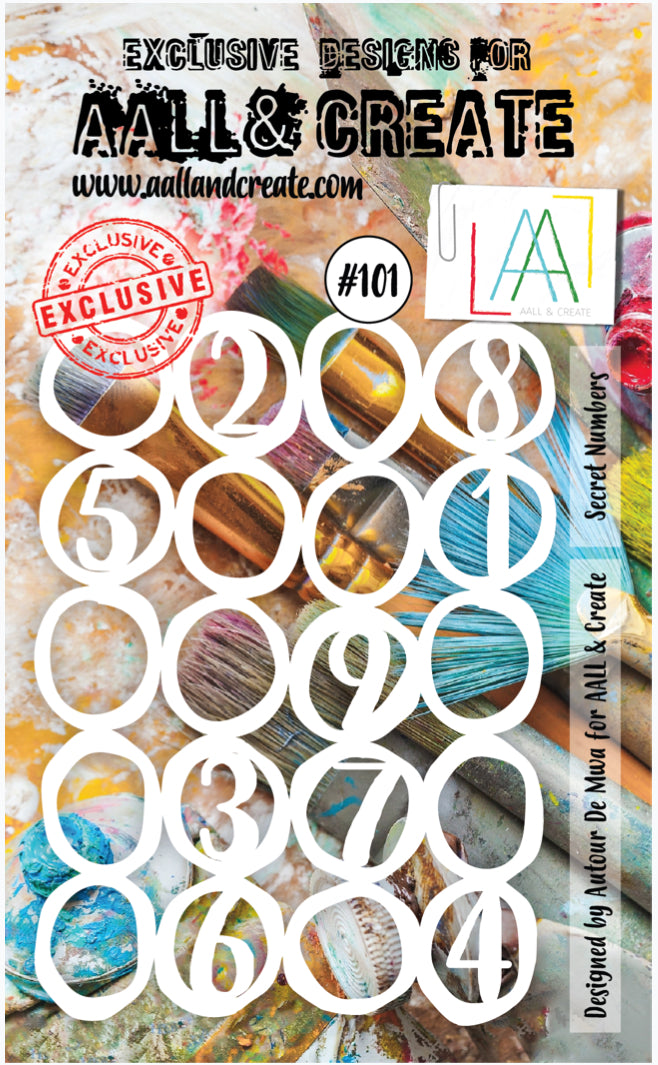 AALL & Create Stencil designed by Autour De Mwa A6 Secret Numbers #101