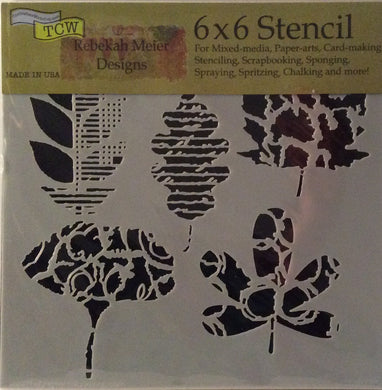 "TCW Rebekah Meier Designs Stencils - Leaf Collection 6""x 6"""