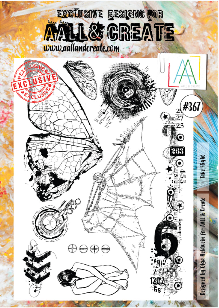 AALL & Create - A4 Clear Stamp Set Designed by Olga Heldwein - Take Flight #367
