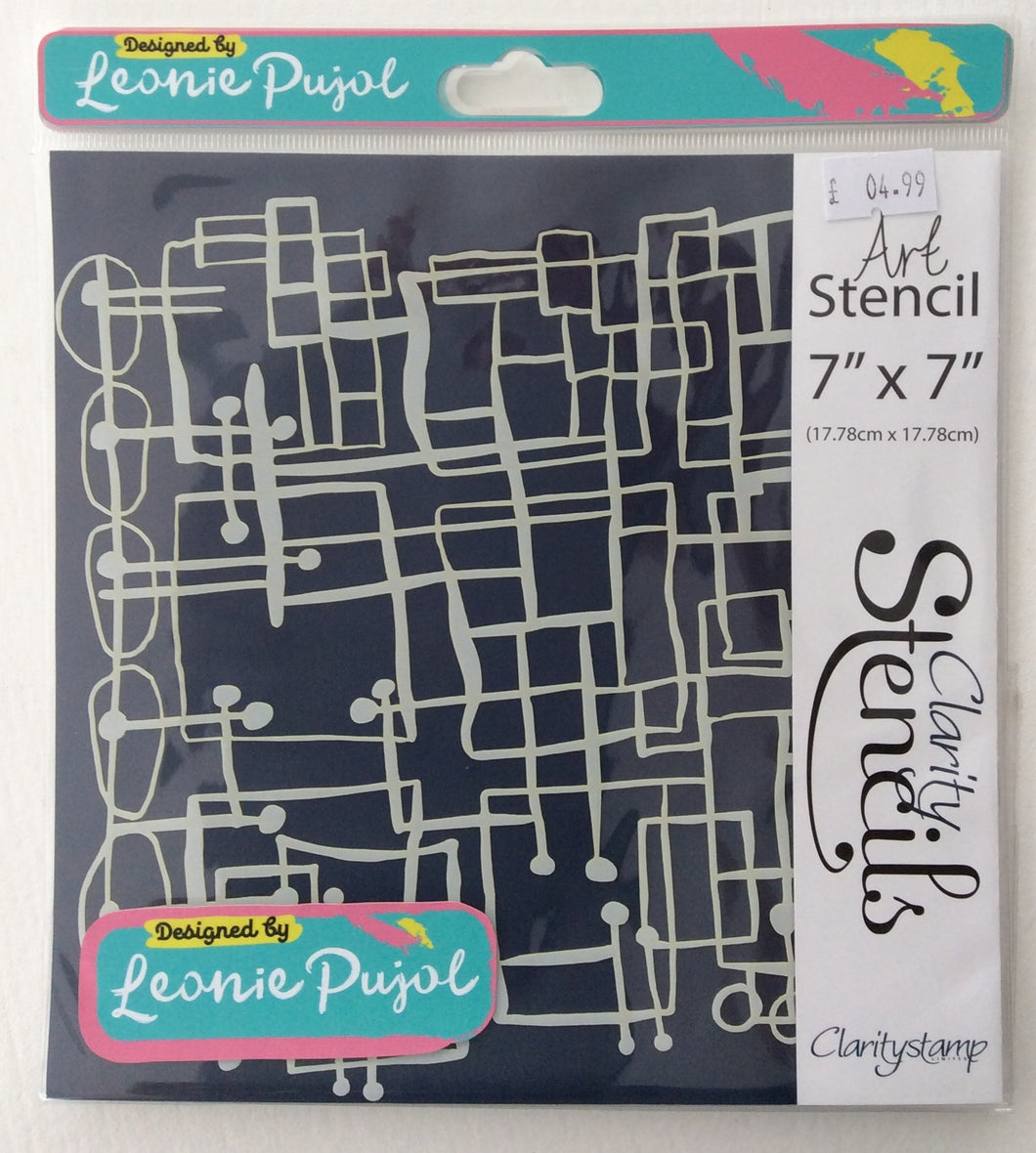 "Clarity Art Stencils by Leonie Pujol - Blocks Abstract Art 7""x 7"""