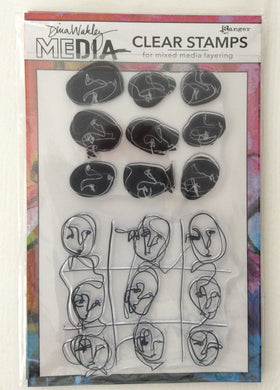 Ranger Dina Wakley Media Clear Stamp Set - Funky Faces Background