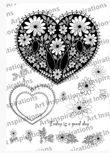 Art Inspirations by Wensdi Made A5 Clear Stamp Sheet - Ornate Heart  - 15 Stamps